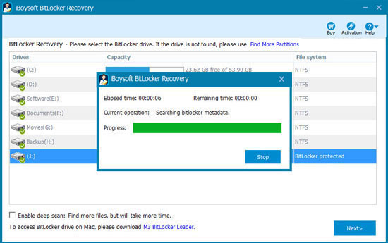 Scan lost data from formatted BitLocker drive