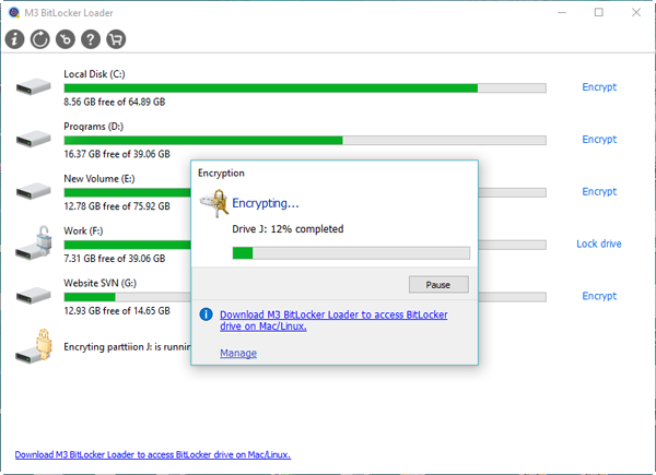 Start Bitlocker drive encryption