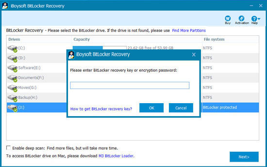 Enter the password or recovery key to scan lost data from failed Bitlocker encrypted drive