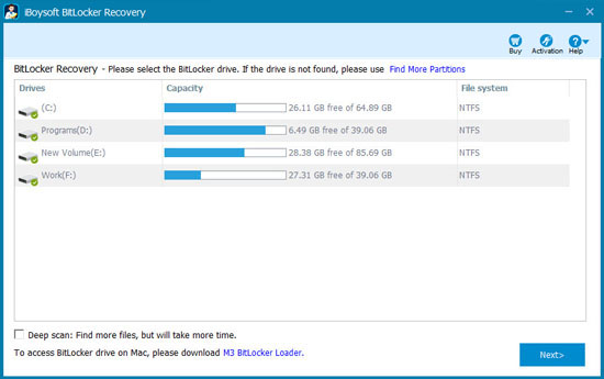 Bitlocker data recovery software - M3 Bitlocker Recovery