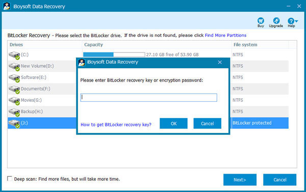 Scan lost data from Bitlocker encrypted drive