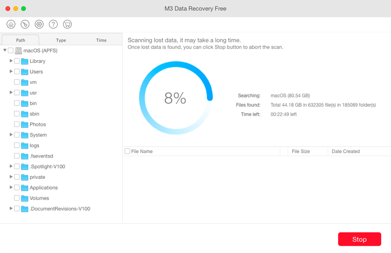 Scan lost files from APFS drive with M3 Mac Data Recovery