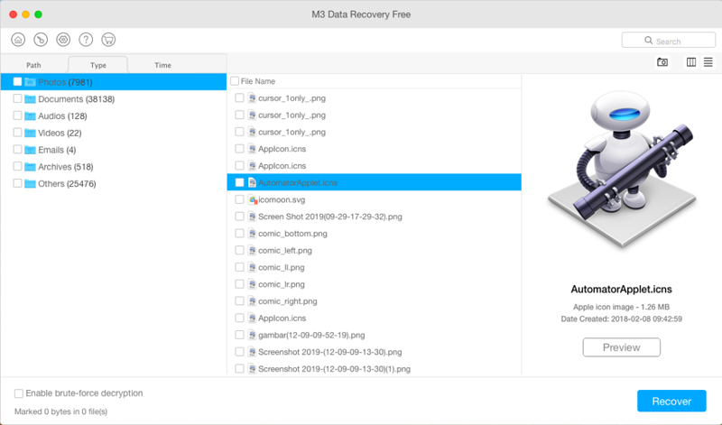 Previw the found files in M3 Mac Data Recovery