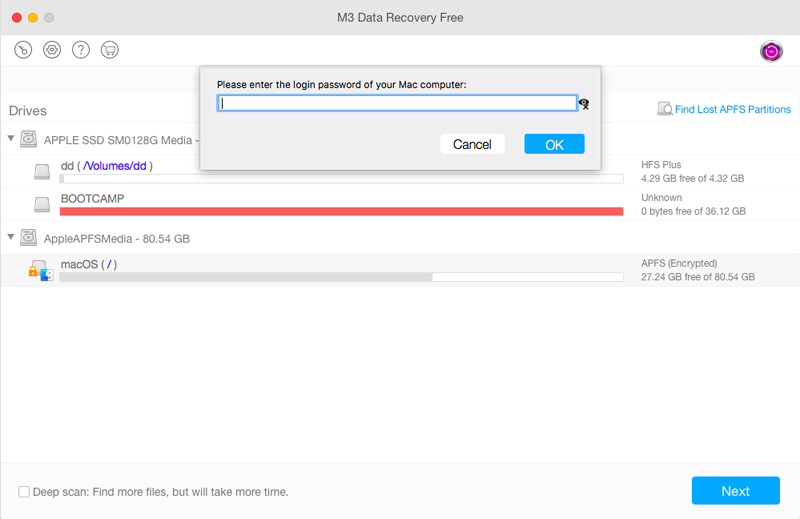 Enter the password to scan lost files from APFS drive with M3 Mac Data Recovery