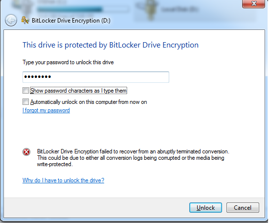 BitLocker drive encryption failed to recover from an abruptly terminated conversion