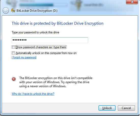 BitLocker encryption on this drive isn't compatible with your version of Windows