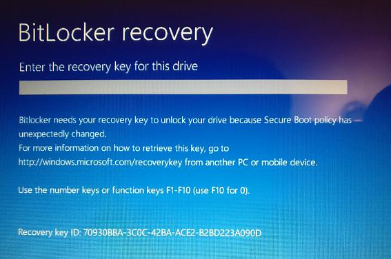 BitLocker recovery screen