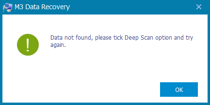Data not found by M3 Data Recovery