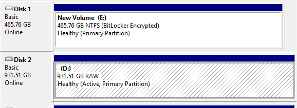 Recover data from Bitlocker encrypted partition with RAW file system