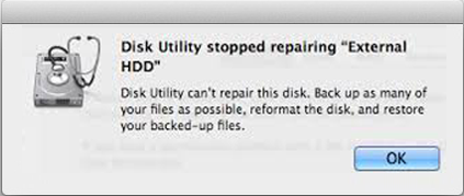 Disk utilily cannot repair external hard drive