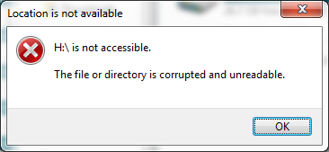 Drive not accessible. The file or directory is corrupted and unreadable.