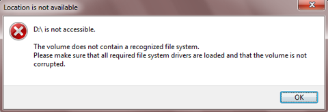 Drive not accessible - the volume does not contain a recognized file system