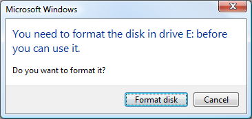 Disk/Drive not formatted error