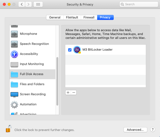 Add full disk access for M3 BitLocker Loader for Mac
