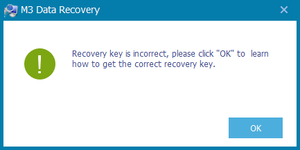 Incorrect recovery key