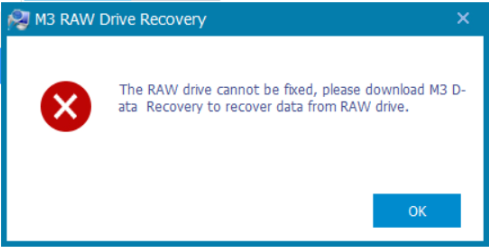RAW drive cannot be fixed