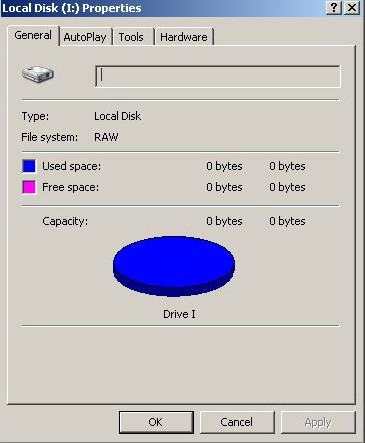 External hard drive shows 0 bytes used space and free space, RAW file system