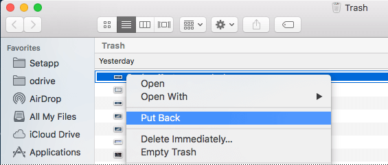 Recover deleted files from Mac Trash