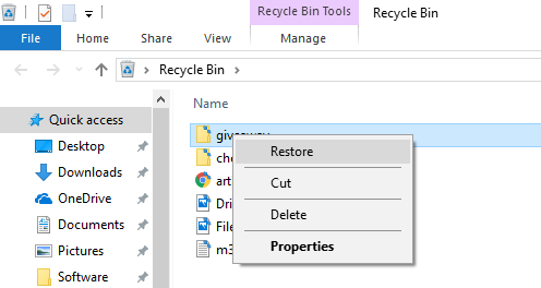 Recover deleted files from Recycle Bin