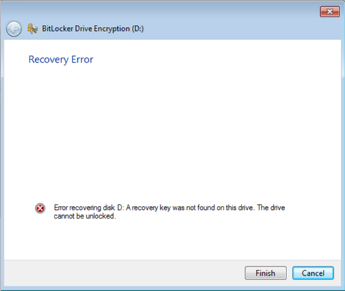 BitLocker recovery error: A recovery key was not found on this drive
