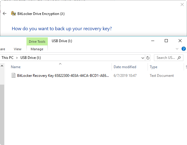 BitLocker recovery key on a USB drive
