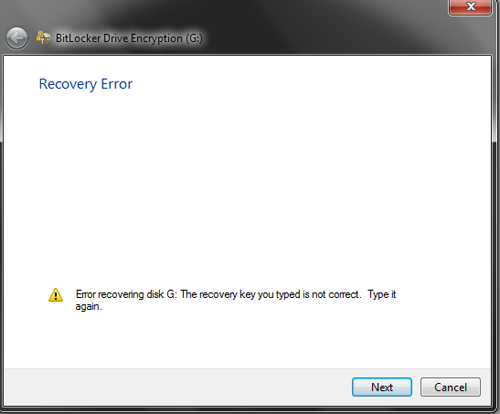 Recovery error: The recovery key you entered is not correct
