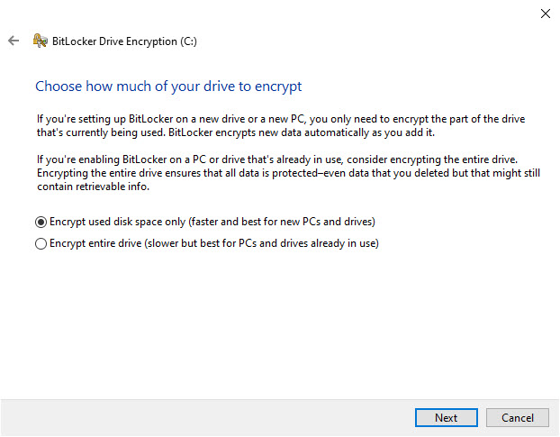 Encrypt used disk space