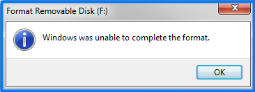 Windows is unable to complete the format
